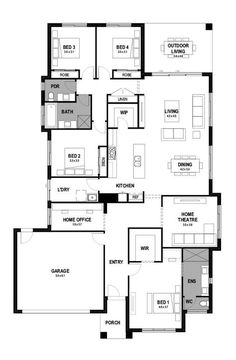 Live Passionately with the Bohemia single storey house design, a generously spacious 4 bedroom home with open-plan living space & private home office. Modern Floor Plans, Open Plan Living, House Layouts, Modern House Design, Living Spaces, House Plans, Homes, Flooring, Contemporary