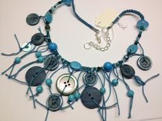 SOLD Teal and turquoise string necklace by BornAgainButtons, $20.00