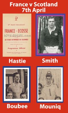 #rugby history Died today 07/04 in 2009 : Ian Hastie (Scotland) played v France in 1955, 1958, 1959 ... Died today 07/04 in 1958 : Robert Smith (Scotland) played v France in 1929, 1930 ... Died today 07/04 in 1973 : Jean Boubee (France) played v Scotland in 1921, 1925 ... Died today 07/04 in 1964 : Pierre Mouniq (France) played v Scotland in 1911, 1913 ... http://www.scotlandvfrancerugbytickets.com/