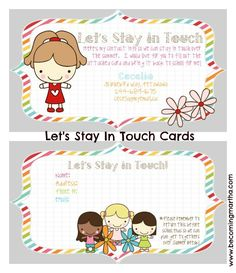 Let's Stay in Touch Cards to give out at the end of the school year