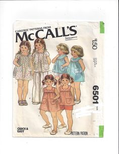 McCall's 6501 Pattern for Toddlers' Set of Dresses & Tops, Size 1, From 1979, Quick and Easy, Vintage Pattern, Home Sewing Pattern, Carefree by VictorianWardrobe on Etsy