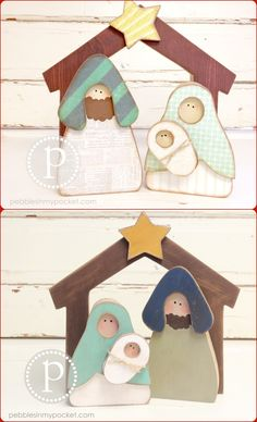 Nativity at pebblesinmypocket.com Available as unfinished wood and as kits. Bulk discounts available for craft & church groups... please email pebblesorders@gmail.com  Thank you!