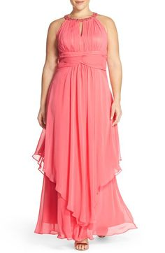 Eliza J Embellished Keyhole Neck Chiffon Dress