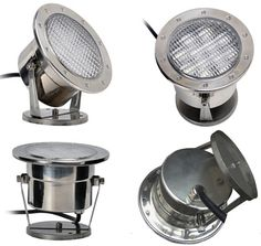 Features of Dongguan simu hardware lighting Co,ltd 12 W Pure white stainless steel 316 LED underwater pond lights   Fully submersible and perfectly sealed, waterproof spotlight adds a dazzle of color to your pond or fountain with 360 degree direction. mounted vertically or horizontally, Adjustable stand lets you point the light at different angles