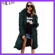 HIJKLNL Plus Size 3XL Furry Faux Fur Coats Women Fake Fox Fur Coat Female Long Pink Coat 2017 Winter Colored Fur Overcoat NA496