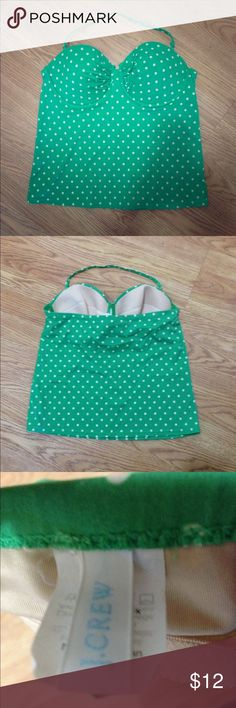 J. Crew tankini top J. Crew green and white polka dot underwire halter tankini swimsuit  top (top only) size 8/D cup. Very gently worn and in excellent condition! J. Crew Swim