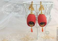 Купить Серьги из коконов шелкопряда с агатом - ярко-красный, серьги, серьги ручной работы, кокон
