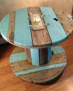 SOLD: Upcycled and Repurposed Cable Spool Side by ThePaintedDen - repurposed items Diy Cable Spool Table, Cable Reel Table, Wood Spool Tables, Wooden Cable Reel, Wooden Cable Spools, Wire Spool, Cable Spool Ideas, Reclaimed Furniture, Diy Furniture