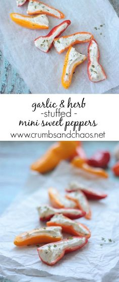 Zesty and delicious, Garlic & Herb Stuffed Mini Sweet Peppers are the perfect appetizer for any gathering! They're full of flavor and so simple to make.
