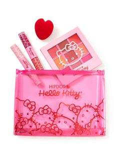 Hello Kitty Makeup, Hello Kitty Coloring, Hello Kitty Collection, Beauty Sponge, Makeup Items, Red Ribbon, Makeup Collection, Face And Body, Gatos