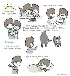 one direction cartoon | one direction - larry stylinson: u r my sunshine by milamint on ...