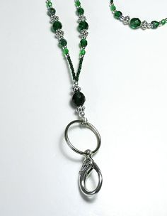 Beaded Lanyard with Green Glass and Silver by funkyfishgirl