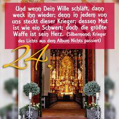 ZItat zum Advent von Silbermond; Krieger des Lichts aus dem Album Nichts passiert, Kirchentüre: St Petrus und Paulus Steinhausen in Baden-Württemberg