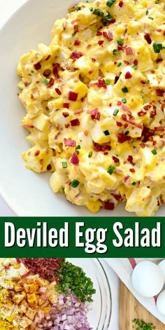 15 Minute Deviled Egg Salad Recipe - All the flavors of a classic deviled eggs recipe in the form of a low carb egg salad recipe! - Healthy lunch ideas or side dish! This egg salad recipe is easily made with ingredients right from your pantry and fridge! Healthy Meal Prep, Healthy Snacks, Healthy Eating, Healthy Recipes, Dinner Healthy, Healthy Supper Ideas, Healthy Egg Salad, Clean Eating, Vegetarian Salad