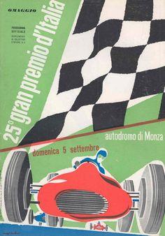 Poster for the1954 Italian Grand Prix at Monza #F1 #ItalianGP #Monza