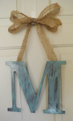 "Shabby Chic 12"" Wood Monogram Cottage Chic Home Decor Pick your color and Letter with Burlap Ribbon- cute and easy way to decorate and personalize"
