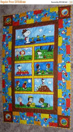 "YEAR END SALE Quilt~28"" x 37""~Peanut's Gang goes Camping.,Gift Quilt, Baby Child Quilt Fast Shipping Qlt113"