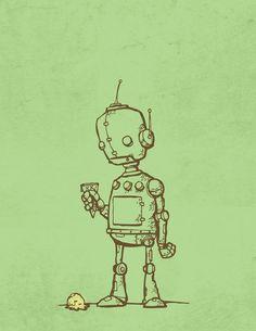 Art poster, robot and ice cream.