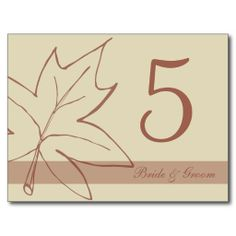 Fall Maple Leaf Table Number Post Card