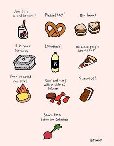 The Office foods - 24 Awesome Pop Culture Illustrations Office Themed Party, Office Birthday, Office Parties, 13th Birthday, Office Memes, Office Quotes, Parks N Rec, Parks And Recreation, Cool Stuff
