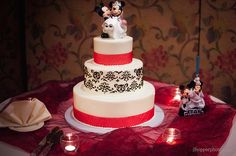 wedding cake with disney toppers by JL Hopper Photography, via Flickr