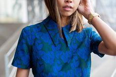 #collar detail on the #blue dress #Socialblissstyle