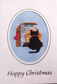 Completed Cross Stitch Christmas Card. Black Cat. | eBay!