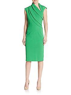 OSCAR DE LA RENTA Draped Jersey Sheath Dress. #oscardelarenta #cloth #dress