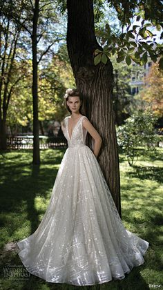 Berta Fall 2016 Fall Bridal gorgeous pretty a-line wedding ball gown dress sleeveless deep v plunging neckline romantic