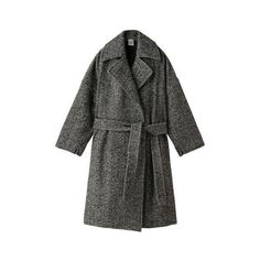 【ELLE SHOP】ツイードトレンチコートブラック|エリン(ELIN)|エル・ショップ (16.485 ARS) ❤ liked on Polyvore featuring outerwear, coats, jackets and elin