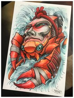 Fun take on a Heike crab. acrylic, marker, ink, and airbrush on Bristol. Egyptian Drawings, Japanese Drawings, Japanese Tattoo Art, Voodoo Doll Tattoo, Lion Head Tattoos, Crab Tattoo, Drawing Superheroes, Full Sleeve Tattoo Design, Graffiti Characters