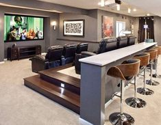 Numerous home theater seating alternatives for you to explore. See much more ideas about Home theater seats, Home theater and also Theater seats. Home Theater Basement, Theater Room Decor, Home Cinema Room, At Home Movie Theater, Home Theater Rooms, Home Theater Design, Home Theater Seating, Basement Walls, Basement Movie Room