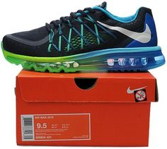 check out 545d9 f1882 UK Market - Nike Air Max 2015 Mens Black Blue Fire Red Trainers   Ladies  Nike Air Max   Pinterest   Nike air max, Air max and Max 2015
