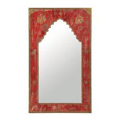 Rode houten uitgehouwen spiegel H 110 cm Wood Mirror, Furniture Decor, Oversized Mirror, Carving, Home Decor, Carved Wood, Margarita, Morocco, Mirrors