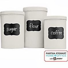 Chalkboard labels are perfect for organization, and they look neat and attractive in a kitchen. Try these labels from Martha's Home Office line on tins like the ones shown, or on ball jars for a rustic look. $5.99 for 12, staples.com.