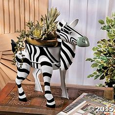 "Metal Animal Zebra Planter - 14"" Indoor Outdoor Home Garden Decoration Black White Stripes perfectseeking.com http://www.amazon.com/dp/B0179WI8S2/ref=cm_sw_r_pi_dp_mVVnwb0N9ABQ5"