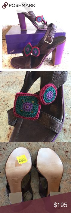 """Vintage Prada Heeled Purple Sandals NWT AUTHENTIC!! Brown leather with embroidered embellishments on front strap. Never been worn - NWT. 4"""" heel. VERY RARE & VERY VINTAGE! From my grandmother's closet. No imperfections. Prada Shoes Sandals"""