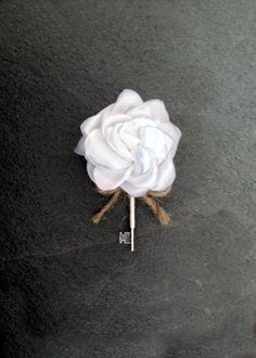 Key Boutonniere White Rose Rustic Boutonniere by Deecreated4U