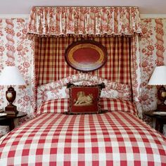 Modern Interior Decorating Ideas Enhancing Country Style Decor with Vichy Check Fabric Patterns – DECOR FOR ALL Interior Styles, Home Decor Ideas, Decorating Themes Style Cottage, Red Cottage, Cozy Cottage, French Country Bedrooms, French Country House, French Cottage, French Decor, French Country Decorating, Red Rooms