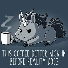 Can we put life on hold until I've had my coffee? ☕ Get the blue Before Reality Kicks In t-shirt only at TeeTurtle! Exclusive graphic designs on super soft cotton tees. Cute Animal Quotes, Animal Memes, Cute Quotes, Cute Animals, Draw Animals, Cute Cartoon Drawings, Cute Animal Drawings, Kawaii Drawings, Cute Memes