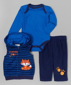 Buster Brown Blue & Navy Stripe Friendly Fox Hooded Vest Set - Infant | zulily