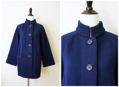 Vintage 70's Heavy Navy Blue Wool Button-Up Cardigan Sweater with Stand-up Collar and Bell Sleeves | Medium Large by AnimalHeadVintage on Etsy