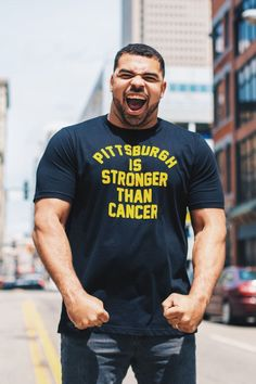 """""""Pittsburgh Is Stronger Than Cancer"""" is statement of solidarity with some of our most vulnerable neighbors - we're in this together. If you mess with one of us, you mess with all of us. 💛 Together we fight to support those diagnosed with cancer and their families by donating 100% of this collection to local cancer relief charities. Here We Go Steelers, Pittsburgh Steelers, Vulnerability, Charity, Athlete, Cancer, Strong, Mens Tops, Collection"""