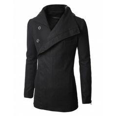 Mens Coat Zipper Turtleneck Wool Coat (CO7:DOUBLJU)