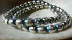 Goblin Green boho Swarovski Fat Silver Beaded two set Stretch Bracelets 6.7-7 #lihangmad6 #Shamballa
