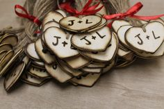 """Rustic Wedding Heart Favor Tags 100 - 2"""" Woodburned Custom Personalized Initials Bride Groom Country style weddings Woodland wedding favors by dlightfuldesigns on Etsy https://www.etsy.com/listing/216591716/rustic-wedding-heart-favor-tags-100-2"""