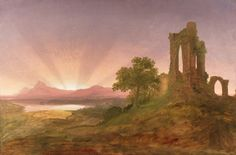 Thomas Cole (1801-1848), Gothic Ruins at Sunset.