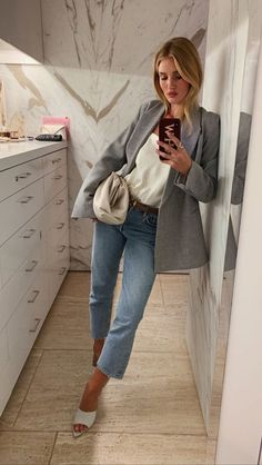 Jeans, white tee and grey blazer #jeans #ootd