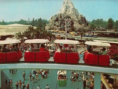 The 16-minute PeopleMover journey (1967-1995) was Disneyland's fourth way to see a large portion of the park while enjoying a ride. The Railroad, Skyway, and Monorail also offered views of multiple parts of Disneyland.