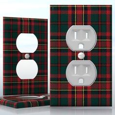 DIY Do It Yourself Home Decor - Easy to apply wall plate wraps | Scottish Proudity  Red and green tartan pattern  wallplate skin sticker for 1 Gang Wall Socket Duplex Receptacle | On SALE now only $3.95